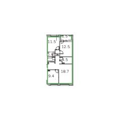 ЖК «Микрогород «В лесу», планировка 3-комнатной квартиры, 70.10 м²