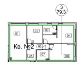 ЖК «Микрогород «В лесу», планировка 3-комнатной квартиры, 79.30 м²