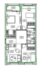 ЖК «Микрогород «В лесу», планировка 3-комнатной квартиры, 73.10 м²