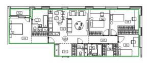 ЖК «Микрогород «В лесу», планировка 4-комнатной квартиры, 106.80 м²