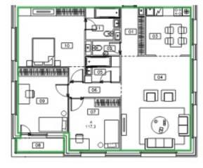 ЖК «Микрогород «В лесу», планировка 4-комнатной квартиры, 117.30 м²