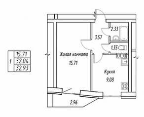 МЖК «Гармония» (Свердлова), планировка 1-комнатной квартиры, 32.93 м²