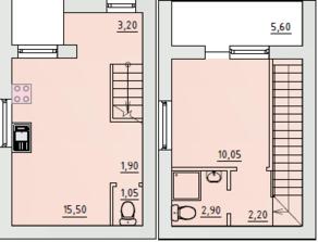 МЖК «Бисерово-Парк», планировка 1-комнатной квартиры, 41.30 м²