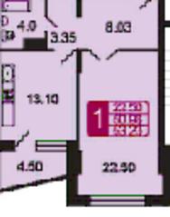 ЖК «на ул. Дубки», планировка 1-комнатной квартиры, 53.33 м²