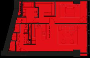 МФК «ОКО», планировка 2-комнатной квартиры, 86.00 м²
