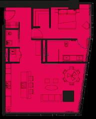 МФК «ОКО», планировка 2-комнатной квартиры, 88.00 м²