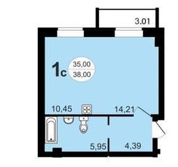 ЖК «Чистая Слобода», планировка студии, 38.00 м²