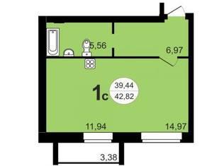 ЖК «Чистая Слобода», планировка студии, 42.82 м²