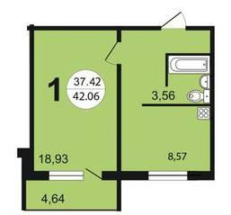 ЖК «Чистая Слобода», планировка 1-комнатной квартиры, 42.06 м²