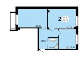 ЖК «Чистая Слобода», планировка 2-комнатной квартиры, 79.22 м²