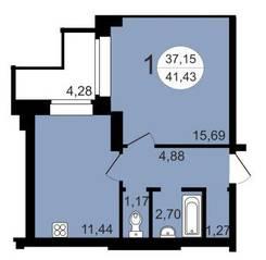 ЖК «Чистая Слобода», планировка 1-комнатной квартиры, 41.43 м²