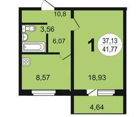 ЖК «Чистая Слобода», планировка 1-комнатной квартиры, 41.77 м²