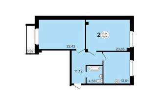 ЖК «Чистая Слобода», планировка 2-комнатной квартиры, 79.26 м²
