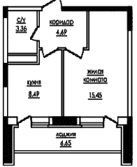 ЖК «на улице Захарченко, 5», планировка 1-комнатной квартиры, 37.20 м²
