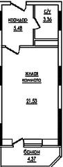 ЖК «на улице Захарченко, 5», планировка студии, 32.20 м²