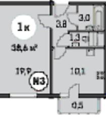 ЖК «Ельнинская 14Б», планировка 1-комнатной квартиры, 38.58 м²