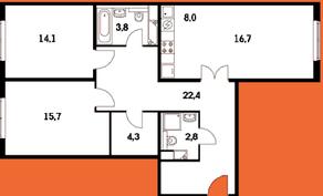ЖК «Краснознаменская 17», планировка 3-комнатной квартиры, 86.60 м²