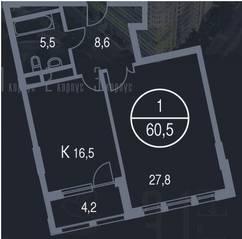 ЖК «Утёсов», планировка 1-комнатной квартиры, 60.50 м²