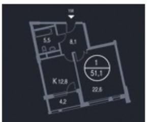 ЖК «Утёсов», планировка 1-комнатной квартиры, 51.10 м²