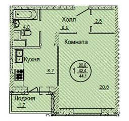 ЖК «Смирновка», планировка 1-комнатной квартиры, 44.10 м²