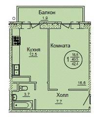 ЖК «Смирновка», планировка 1-комнатной квартиры, 42.40 м²
