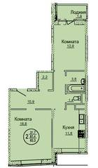 ЖК «Смирновка», планировка 2-комнатной квартиры, 63.30 м²