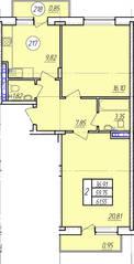 ЖК «Захарово-парк», планировка 2-комнатной квартиры, 61.55 м²