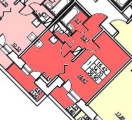 ЖК «в посёлке Тельмана» (мкр. 5), планировка 1-комнатной квартиры, 34.70 м²