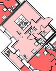 ЖК «в посёлке Тельмана» (мкр. 5), планировка 1-комнатной квартиры, 35.53 м²