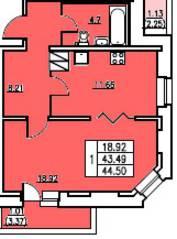 ЖК «в посёлке Тельмана» (мкр. 5), планировка 1-комнатной квартиры, 43.49 м²