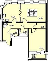 ЖК «в посёлке Тельмана» (мкр. 5), планировка 2-комнатной квартиры, 71.25 м²
