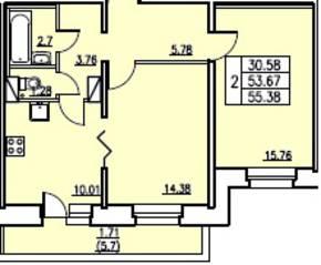 ЖК «в посёлке Тельмана» (мкр. 5), планировка 2-комнатной квартиры, 53.67 м²