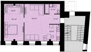 ЖК «Адмирал» (Адмиралтейский), планировка 2-комнатной квартиры, 60.50 м²