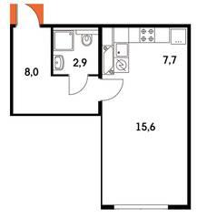 ЖК «Ярцевская 24», планировка 1-комнатной квартиры, 34.10 м²