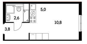 ЖК «Ярцевская 24», планировка 1-комнатной квартиры, 22.20 м²