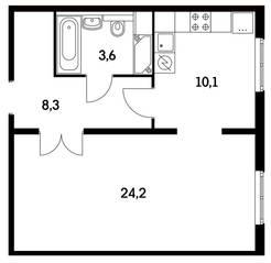 ЖК «Ярцевская 24», планировка 1-комнатной квартиры, 46.20 м²
