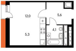 ЖК «Оранж парк», планировка студии, 25.04 м²