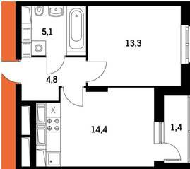 ЖК «Оранж парк», планировка 1-комнатной квартиры, 37.37 м²