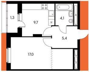 ЖК «Оранж парк», планировка 1-комнатной квартиры, 36.45 м²