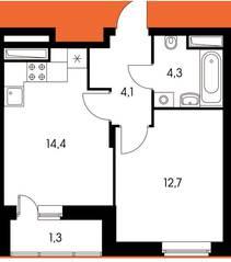 ЖК «Оранж парк», планировка 1-комнатной квартиры, 36.88 м²