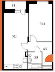 ЖК «Оранж парк», планировка 2-комнатной квартиры, 47.24 м²