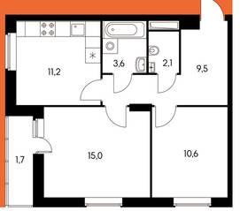 ЖК «Оранж парк», планировка 2-комнатной квартиры, 53.42 м²