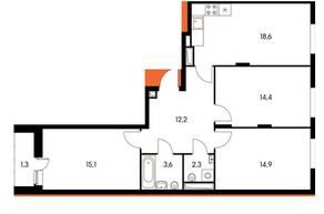 ЖК «Оранж парк», планировка 3-комнатной квартиры, 82.37 м²