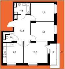 ЖК «Оранж парк», планировка 3-комнатной квартиры, 66.79 м²