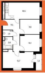 ЖК «Оранж парк», планировка 3-комнатной квартиры, 69.63 м²