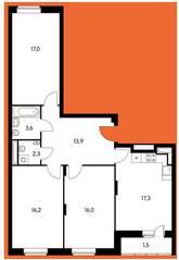 ЖК «Оранж парк», планировка 3-комнатной квартиры, 87.73 м²