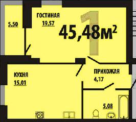 МЖК «Остров Эрин», планировка 1-комнатной квартиры, 45.48 м²