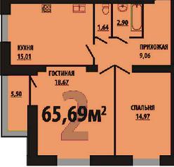 МЖК «Остров Эрин», планировка 2-комнатной квартиры, 65.69 м²