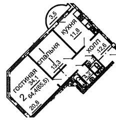 ЖК «Усово парк», планировка 1-комнатной квартиры, 65.50 м²