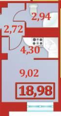 ЖК «Александрийский», планировка студии, 18.98 м²